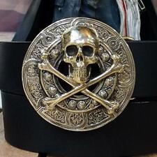 Men's Biker Style Skull and Crossbones Design In 925 Solid Silver Belt Buckle