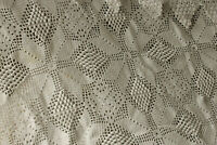 Crocheted Lace Coverlet Vintage French handmade textile natural white tone throw