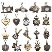 Retro Vintage Antique Steampunk Bronze Pocket Watch Quartz Necklace Pendant