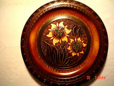 Vintage Beautiful Wood Carved  Poland Plate  10 Inches  Floral Scene