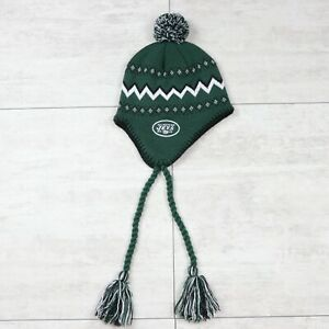 Kid's NFL Team Apparel New York Jets Green Pom Pom Ear Flap Beanie Winter Hat