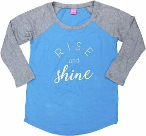 Jennifer Moore Womens Graphic Pajama Top Rise and Shine Blue