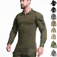 Mens Military Tactical T-Shirts Army Combat Long Sleeve Casual Shirt Camouflage