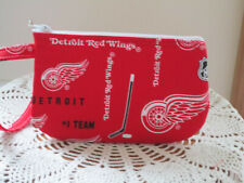 Red Wing Hockey Wristlet Makeup Bag Camera Clutch Gift for her Antiquebasketlady