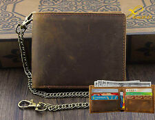 Mens Wallet with Chain Leather Brown Biker VINTAGE Coin Card Holder