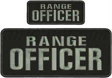 RANGE  OFFICER embroidery patches 4x10 And 2x5  hook on back bal/gray
