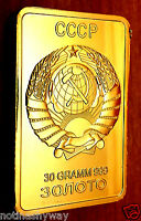 Russia Gold Bar Soviet Union CCCP USSR Emblem Eagle Red Star Hammer & Sickle bin