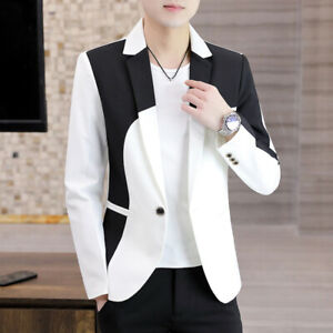 Mens Mixed Colors Slim Fit Formal Dress Suit Outwear  Lapel Collar Blazer Jacket