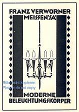 Lampen Verworner Meissen Reklame 1928 Beleuchtung Licht Werbung lamp ad +