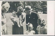 WWII Winston churchill visiting Dutch Royal family RPPC 1940s