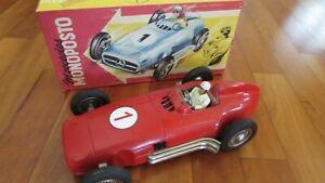 "JNF 1950's tin toy race car 13"" famous Mercedes Benz W 196 w. Germany 1980's box"