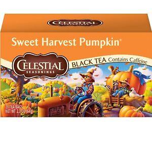 Celestial Seasonings Sweet Harvest Pumpkin Black Tea 1 Box 20 Bags ex 2022 NEW