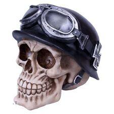 Iron Cross Skull - Hells Angel Skull with German WW2 Biker Helmet By Nemesis Now