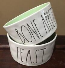 "RAE DUNN 2pc Dog Pet ""FEAST"" & ""BONE APPETIT"" Food Water Bowls MINT Stoneware"