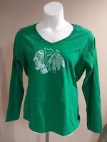 Chicago Blackhawks Fanatic St. Patricks Day Green Long Sleeve T-Shirt Women