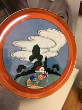 "Antique Lusterware Japan Cozy Cottage Scene 12"" Porcelain Charger 🌸Marked"