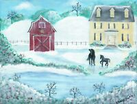 OrIgInAl FoLk ART PaInTiNg HoRsEs WiNtEr SnOw PoNy CoLt BaRn ReD BaRn HoUsE