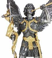 "13"" SAINT GABRIEL Archangel W/ Cross  Statue Pewter & Gold Finish St Angel"