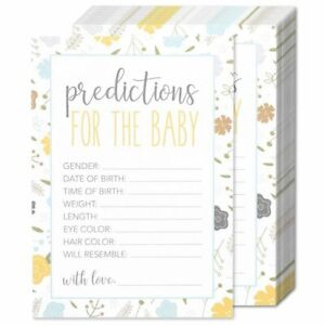"50 Pack Boy/Girl/Unisex Baby Shower Predictions for the Baby Party Games, 5""x7"""