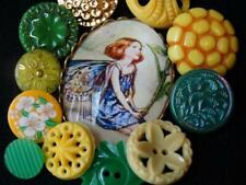 New listing Awesome Green Yellow Vintage & New Buttons Bubble Glass Cameo Flower Glass +