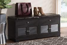 Baxton Studio Leo Modern and Contemporary Dark Brown Wood 2-Drawer Shoe Stora...