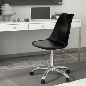 Swivel Office Chairs Cushioned Adjustable Desk Computer Chair Chrome Legs Lift