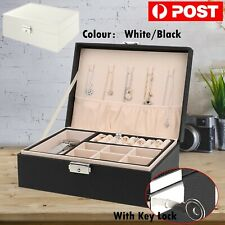 Jewelry Organizer Case Box Holder Storage Earring Ring Velvet Display Leather AU