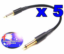 From OZ Quality 5PC 35cm 6.35mm 1/4 Male Mono Patch Cable Black Braided FREEPOST