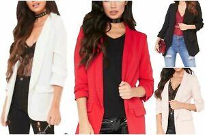 New Ladies Stylish Casual Frill Ruffle 3/4Sleeve Duster Coat Women Jacket Blazer