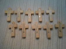 10 Stück Rosenkranz Kreuze Kreuz hell Holzkreuz 3,5 x 2,0 cm Basteln