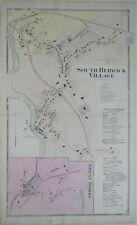 Original 1872 Map SOUTH BERWICK Great Works Woolen Mills York County Maine Roads