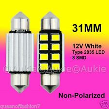 2 x 12V LED 31MM Festoon Interior Car Auto 8 SMD Light Bulb White Dome Lamp