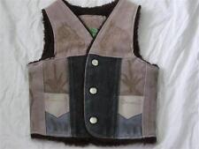 Vintage 1970s Horse Suede Vest Cowboy 4T 4 Sherpa Patches Branded Horseshoe