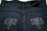 Ed Hardy Girls Rhinestone Panther 5-Pocket Ocean Wash Jeans (14) NWT