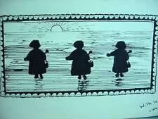 Lovely Antique Watercolor Painting Silhouette 3 Children At Beach Pails Shovels