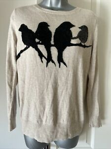 Ladies Monsoon Medium Size Brown Jumper With A Blackbird Detail