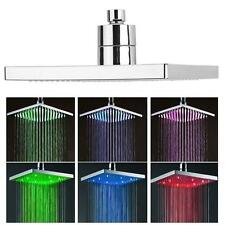 8-inch Square Rainfall Shower 7 Colors LED Changing Bathroom Over-head Spray MT