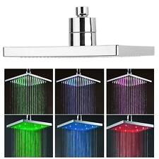8-inch Square Rainfall Shower 7 Colors LED Changing Bathroom Over-head Spray GR