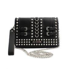 Borsa pochette clutch Love Moschino donna pelle nera borchie catene acciaio
