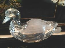 MALLARD DUCK COVERED CANDY DISH FIGURINE HEAVY CLEAR AND FROSTED CRYSTAL