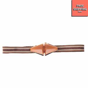 Grosgrain Waist Belt Size S Striped Pattern Lame Effect Elasticated Hook Closure