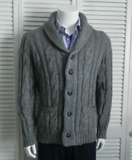 NEW Mens SZ 2XL ALPACA Light Gray Shawl Collar Cable Knit Cardigan Sweater PERU