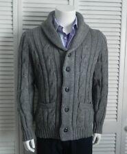 NEW Mens SZ 2XL ALPACA Light Gray Shawl Collar Cable Knit Cardigan Sweater PERU