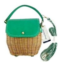 NWT Tommy Bahama Green Wicker Rattan Small Structured Crossbody Bag Purse Boho