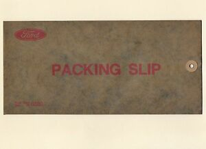 NOS Ford Packing Slip Envelope for Dealership Paperwork Window Sticker Dated '70