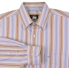 Paul & Shark Yatching Made in ITALY Blue Brown Multi Stripe Dress Shirt 42