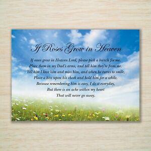 """Dad Memorial Birthday Card """"If Roses Grow in Heaven"""" Eco & Waterproof  Freepost"""