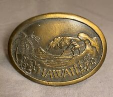 Vintage Hawaii Metal Belt Buckle With Surfer Featured