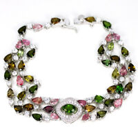 """NATURAL AAA MULTI COLOR TOURMALINE & WHITE CZ STERLING 925 SILVER BRACELET 8.5"""""""