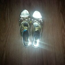Gold sandals &Blue Asian shoes  flats UK FREEPOST Girls  size 12(3 items)